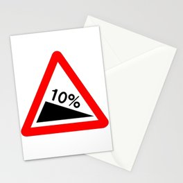 10 Percent Incline Traffic Sign Isolated Stationery Cards