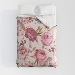 Blush Pink and Red Watercolor Floral Roses Comforters
