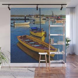 Yellow fishing boat, Santa Luzia, Portugal Wall Mural
