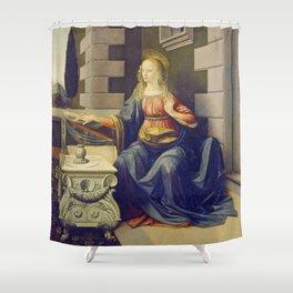 """Leonardo da Vinci """"Annunciation 2."""" Shower Curtain"""