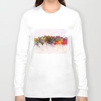 oakland Long Sleeve T-shirts featuring Oakland skyline in watercolor background by Paulrommer
