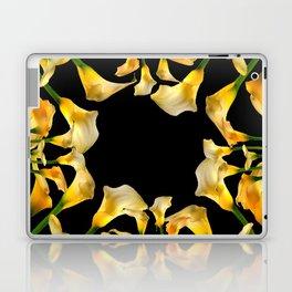 Golden Calla Lilies Black Garden Art Laptop & iPad Skin