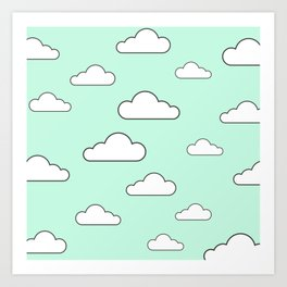 Minty Sky x Cloud Art Print