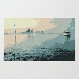 Toronto harbour as seen in 1980 Rug
