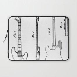 Bass Guitar Patent - Bass Guitarist Art - Black And White Laptop Sleeve