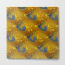 Golden Diamond Leaf pattern Metal Print
