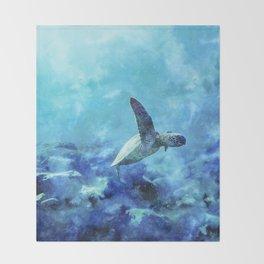 Sea Turtle Into The Deep Blue Throw Blanket