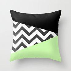 Color Blocked Chevron 3 Throw Pillow
