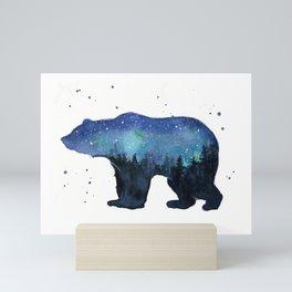 Forest Bear Silhouette Watercolor Galaxy Mini Art Print