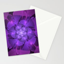Purple Dew Drops | Abstract digital flower Stationery Cards