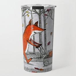 Fox Family Enjoying the Fall Leaves Travel Mug