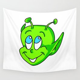 Extraterrestrial smiling child face Wall Tapestry