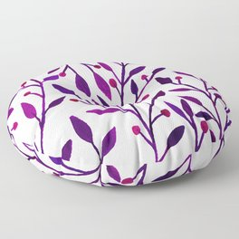 Leafs and iny fruit - purple and pink pallete Floor Pillow