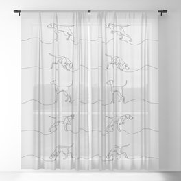 Continuous Line Weimaraners (Grey Background) Sheer Curtain
