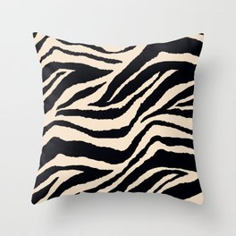 Zebra Animal Print Black and off White Pattern Throw Pillow