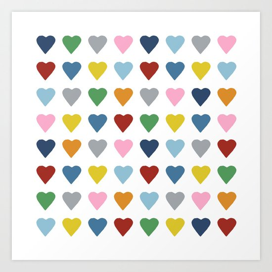 64 Hearts Art Print
