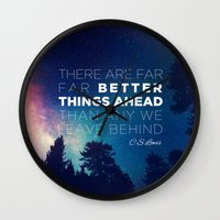 "pocketfuel Wall Clocks featuring CS Lewis ""Better Things Ahead"" by Pocket Fuel"
