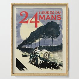 24 Heures du Mans, Hand Painted, vintage Poster Serving Tray