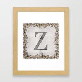 Neutral Monogram Z Framed Art Print