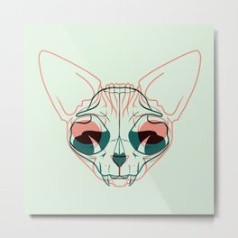 Pastel Green and Coral Sphynx Cat Skull Overlay - Hairless Kitty Double Exposure Line Drawing Metal Print