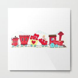 Vintage Valentine Day Card Inspired - Love, Romance, Romatic, Red, Hearts, Cherub, Angels Metal Print