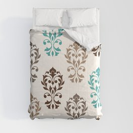 Heart Damask Art I Browns Teal Cream Comforters