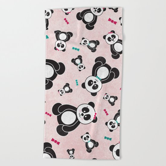 Panda Freefall in Pink Beach Towel