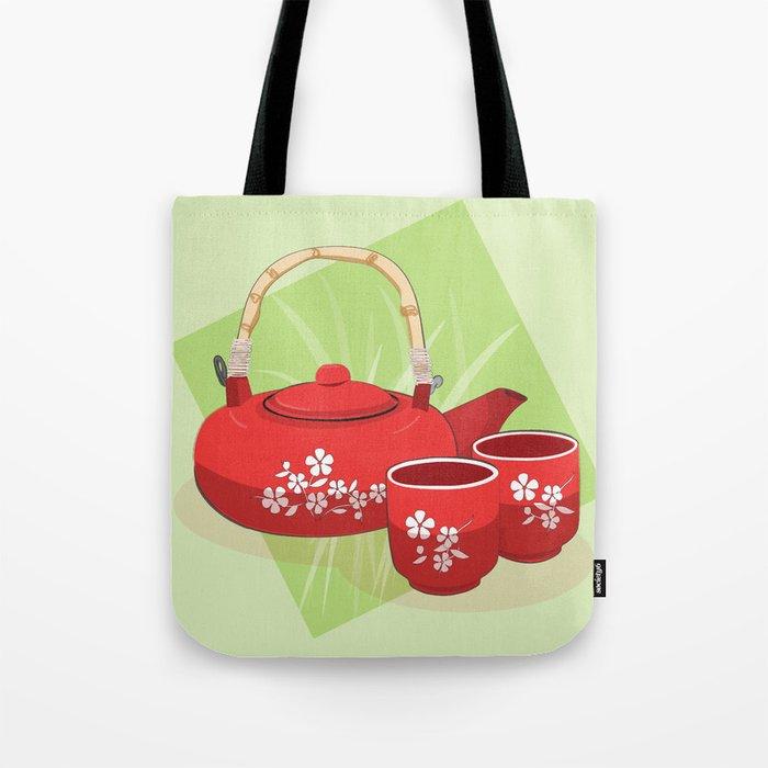 Red Tea Set Tote Bag