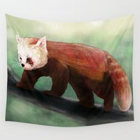 red panda Wall Tapestries featuring Red Panda by Ben Geiger