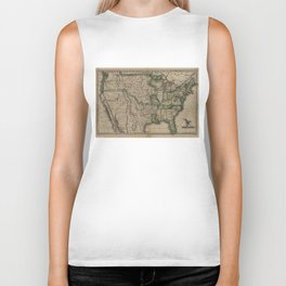 Vintage Map of The United States (1823) Biker Tank