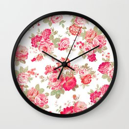 Elise shabby chic on white Wall Clock