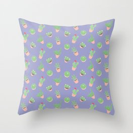 Cactus and Succulent Houseplant Pattern Throw Pillow