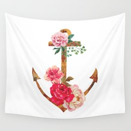 floral rusted anchor Wall Tapestry