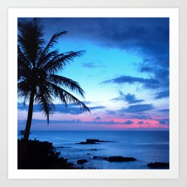 Tropical Island Beach Ocean Pink Blue Sunset Photo Kunstdrucke