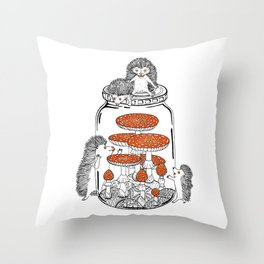 Hedgehog Amanita Mushroom Throw Pillow