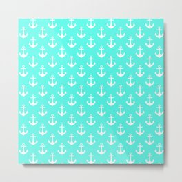 Anchors (White & Turquoise Pattern) Metal Print