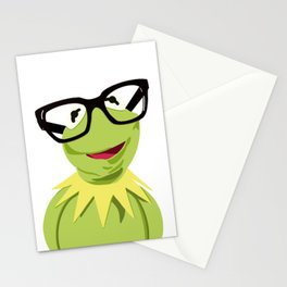 Hipster Kermit - the Optimistic Frog Stationery Cards