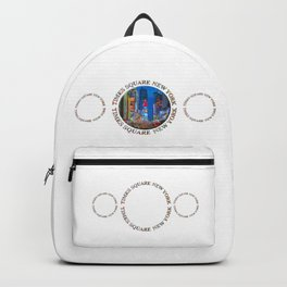 Times Square Broadway NYC (triple emblem on white) Backpack