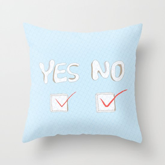 Yes No Throw Pillow