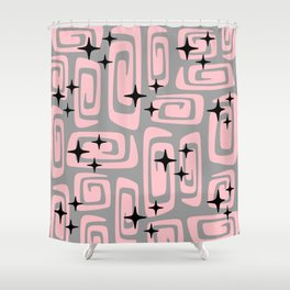Mid Century Modern Cosmic Galaxies 438 Pink and Gray Shower Curtain