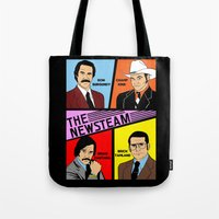 anchorman Tote Bags featuring The Newsteam - Anchorman by Buby87