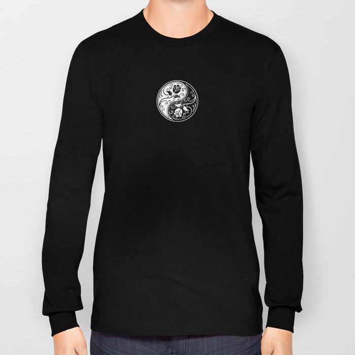 Black and White Yin Yang Roses Long Sleeve T-shirt