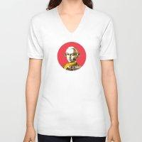 mozart V-neck T-shirts featuring Mozart Kugel Red by Marko Köppe