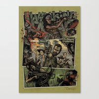 walking dead Canvas Prints featuring Walking Dead  by ZIMZONOWICZ