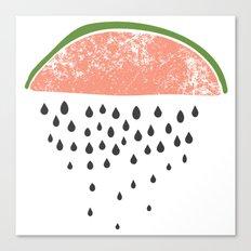 Watermelon raining seeds. Canvas Print
