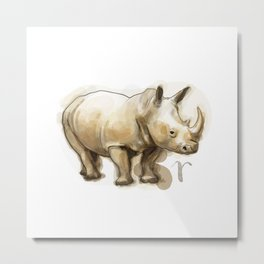 Rhino (Alphabetical Animals) Metal Print