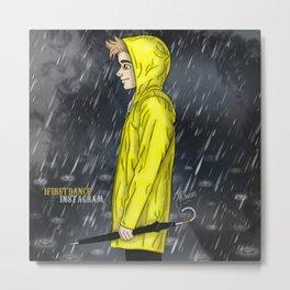 Yellow Raincoat Metal Print
