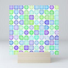 Lime Green Turquoise Blue Violet Purple Retro Squares Dots Pattern Mini Art Print