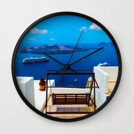 Volcano View,Santorini Wall Clock