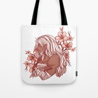 dangan ronpa Tote Bags featuring Cherry Blossoms by bitterkiwi